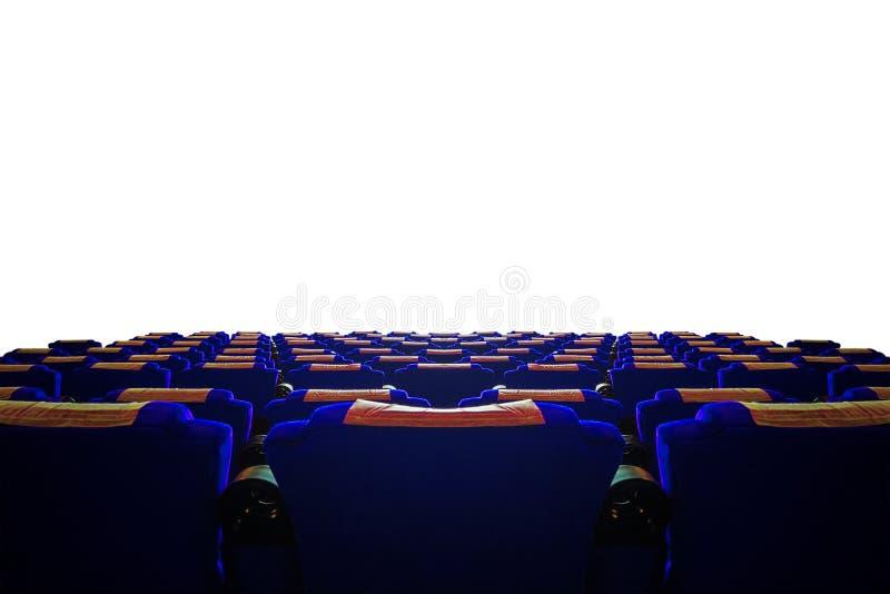 Pasillo del cine con el asiento azul imagen de archivo