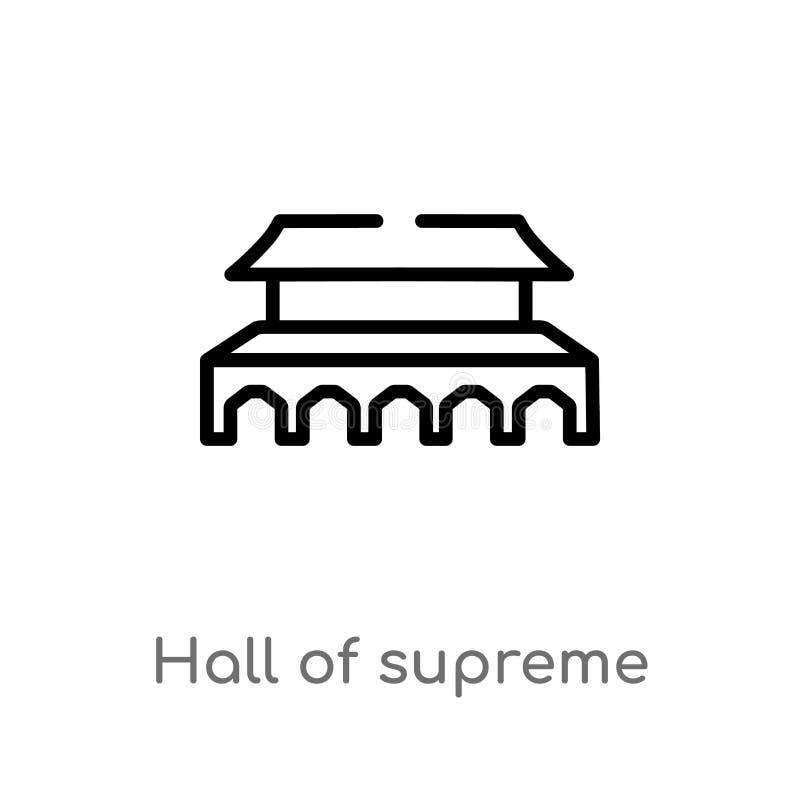pasillo del esquema de la armonía suprema en icono del vector de Pekín línea simple negra aislada ejemplo del elemento del concep stock de ilustración