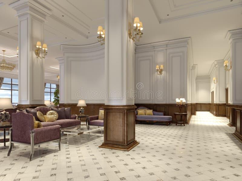 Pasillo del hotel en estilo clásico con el pasillo lujoso de los muebles del art déco y de la teja de mosaico stock de ilustración