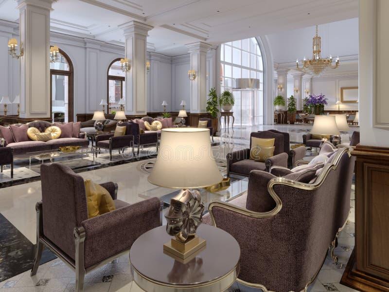 Pasillo del hotel en estilo clásico con el pasillo lujoso de los muebles del art déco y de la teja de mosaico ilustración del vector