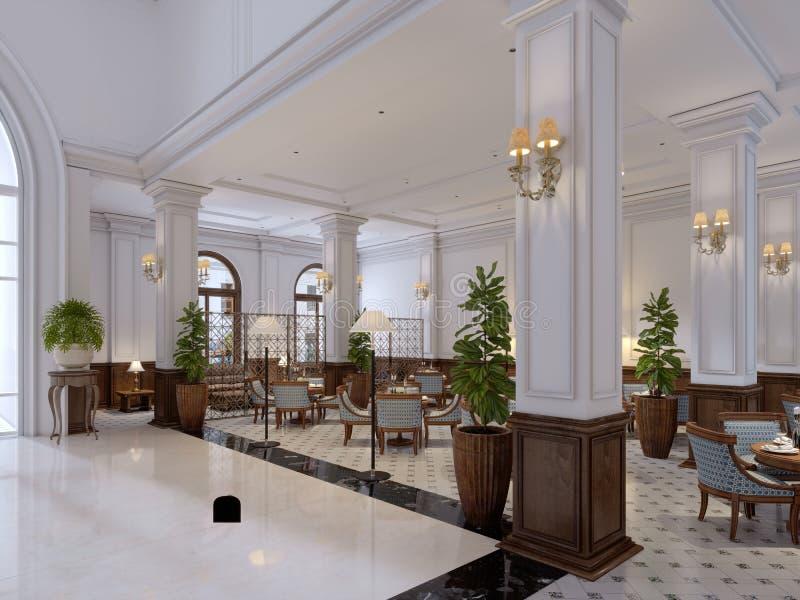 Pasillo del hotel en estilo clásico con el pasillo lujoso de los muebles del art déco y de la teja de mosaico libre illustration