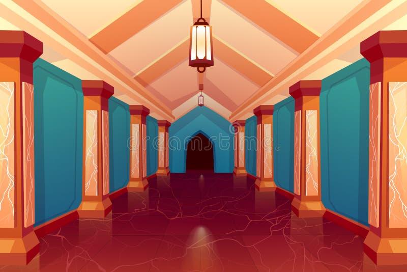 Pasillo del palacio, interior vacío del pasillo de la columna del castillo stock de ilustración