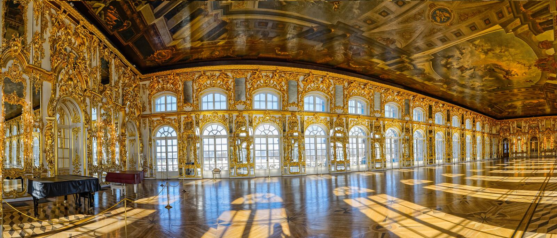 Pasillo del salón de baile del palacio de Catherine en Tsarskoe Selo (Pushkin), St imagen de archivo libre de regalías