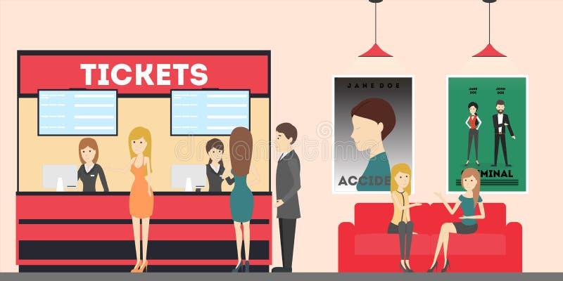 Pasillo del teatro del cine stock de ilustración