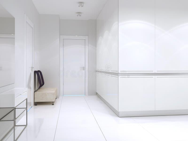 Pasillo diseñado contemporáneo en casa costosa grande stock de ilustración