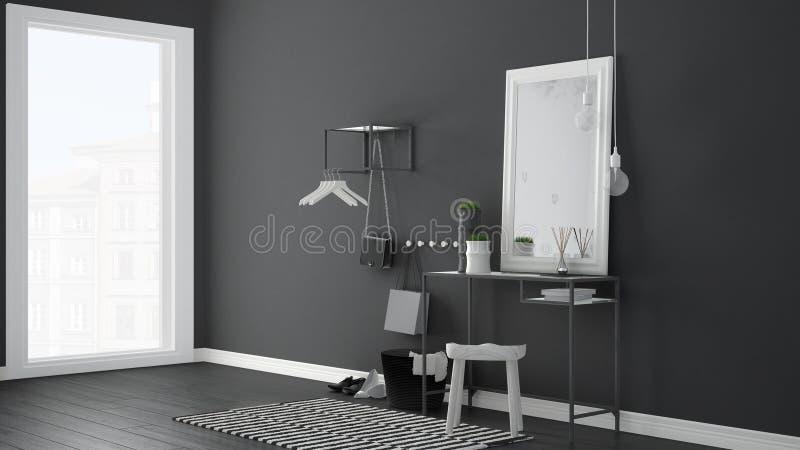 Pasillo escandinavo del pasillo de la entrada con la tabla, el taburete, la alfombra y m imagen de archivo libre de regalías