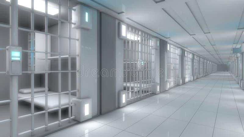 Pasillo futurista de la cárcel ilustración del vector