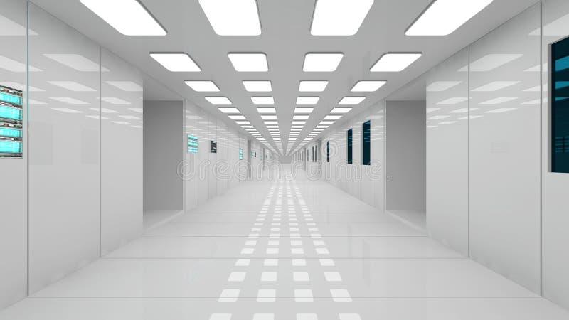 Pasillo futurista del interior de la nave espacial stock for Interior nave espacial