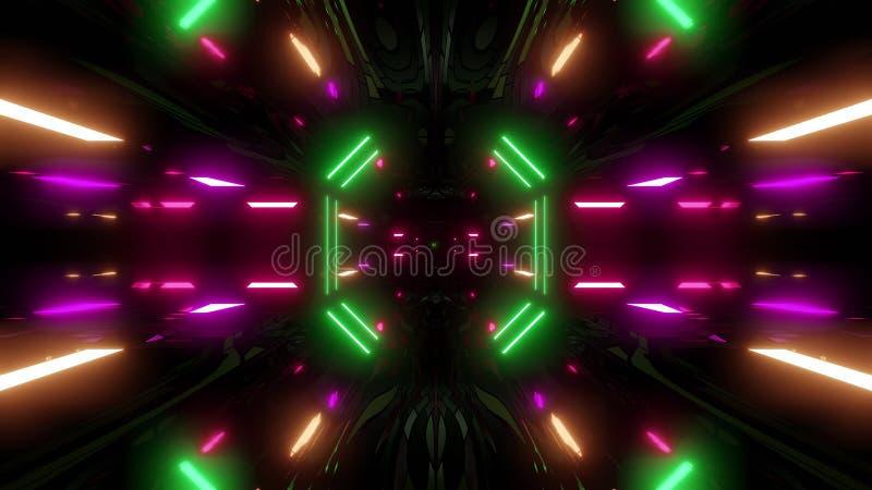 Pasillo futurista del túnel del scifi con el ejemplo del papel pintado 3d del fondo de la asamblea de la textura stock de ilustración