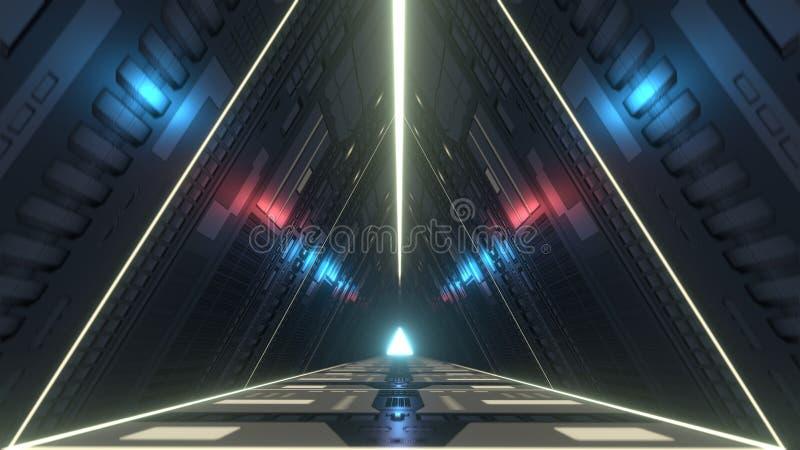 Pasillo futurista del triángulo con las luces infrarrojas y ultravioletas representación 3d stock de ilustración