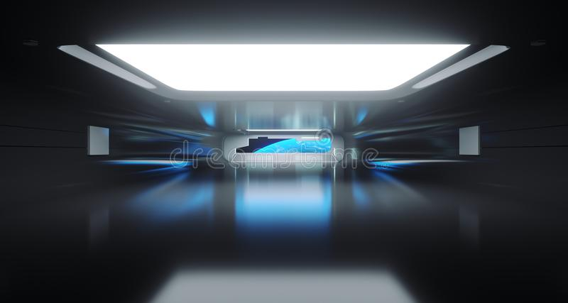 Pasillo futurista limpio oscuro del vehículo espacial de la ciencia ficción con la opinión de la tierra ilustración del vector
