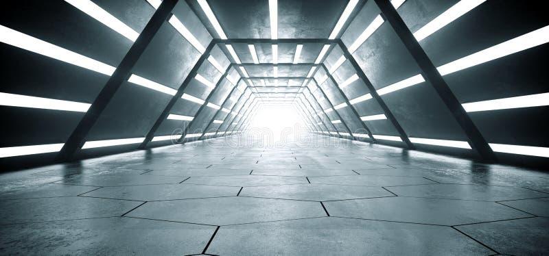 Pasillo hexagonal concreto reflexivo del túnel del piso del Grunge extranjero brillante vacío futurista moderno de la nave de Sci stock de ilustración