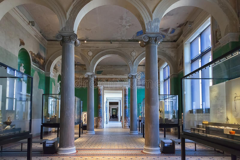 Pasillo interior adentro del museo de Neues en Berlín imagenes de archivo