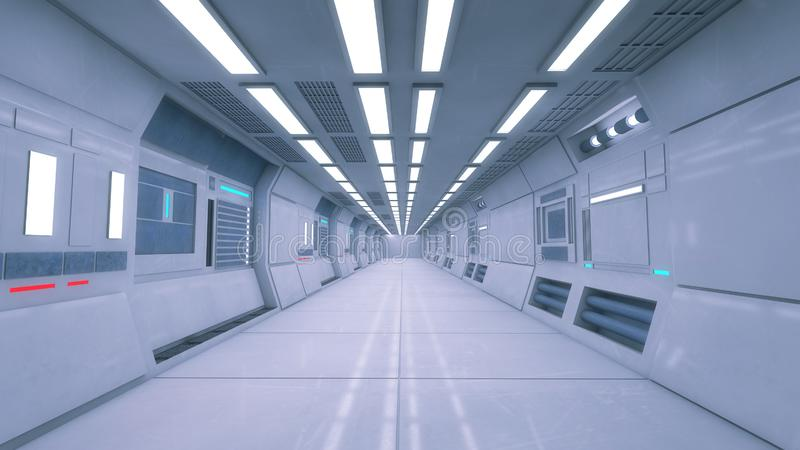 Pasillo interior vacío futurista stock de ilustración