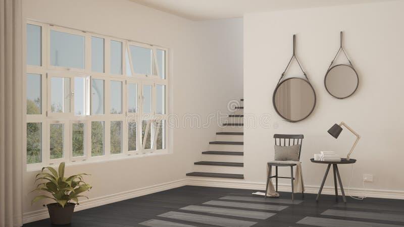 Pasillo minimalistic escandinavo, entrada, vestíbulo, inter moderno fotos de archivo libres de regalías