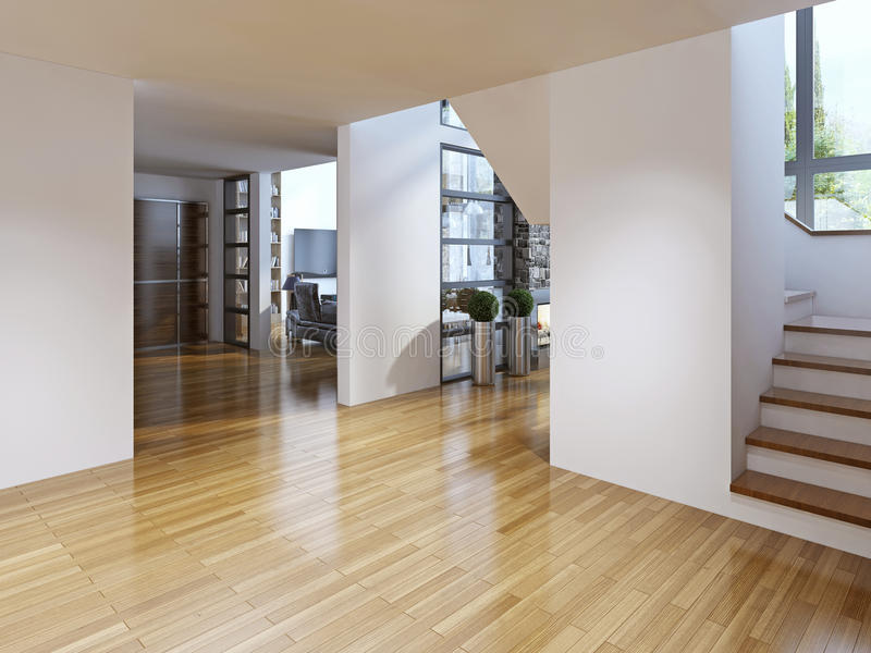Pasillo moderno brillante con las escaleras fotografía de archivo