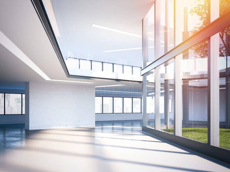 Pasillo moderno de la oficina con las ventanas grandes representación 3d fotografía de archivo libre de regalías