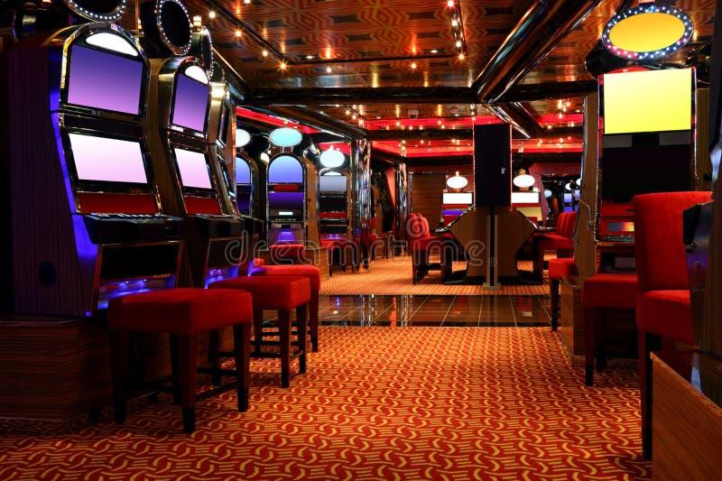 Pasillo moderno del casino con las máquinas de juego imagen de archivo libre de regalías