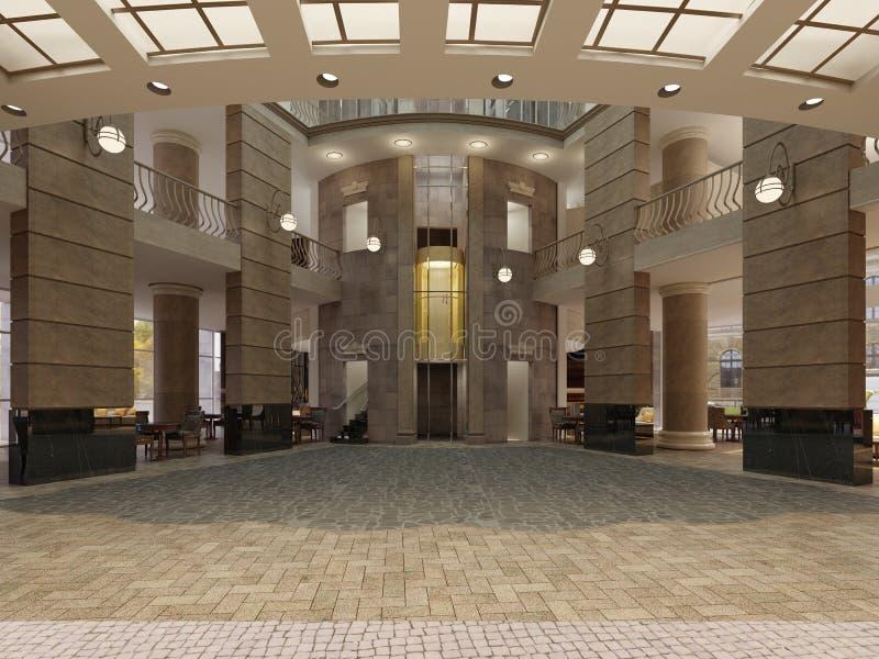 Pasillo moderno del hotel con el espacio y los balcones interiores de niveles múltiples El interior del pasillo del hotel en un e libre illustration