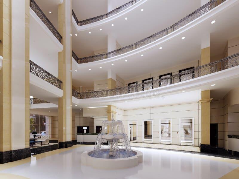 Pasillo moderno, vestíbulo del hotel de lujo, centro comercial, centro de negocios Diseño interior stock de ilustración