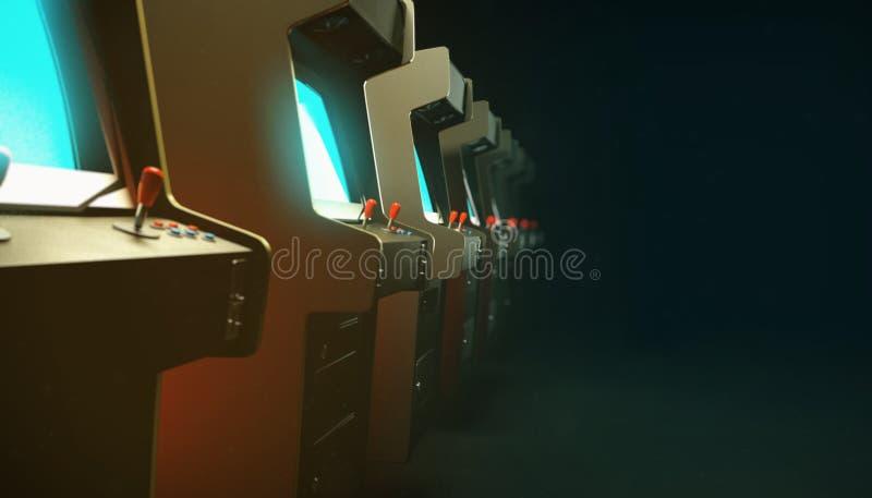 Pasillo oscuro con una fila del azul del resplandor de las pantallas de los gabinetes de la máquina de la arcada del vintage y la imagen de archivo libre de regalías