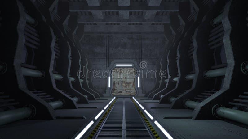 Pasillo oxidado de la ciencia ficción con las puertas ilustración del vector