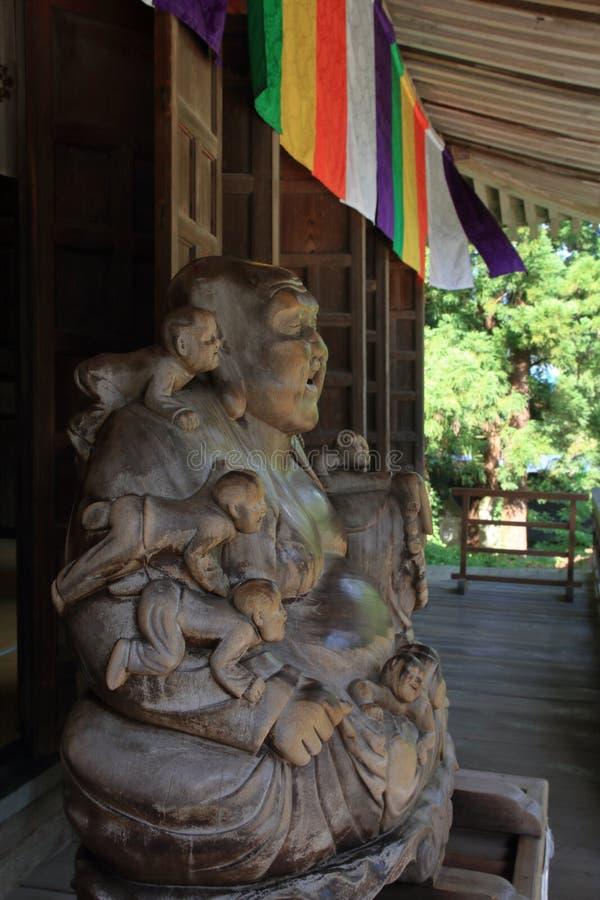Pasillo principal del ji Yamadera de Risshaku en Yamagata fotos de archivo