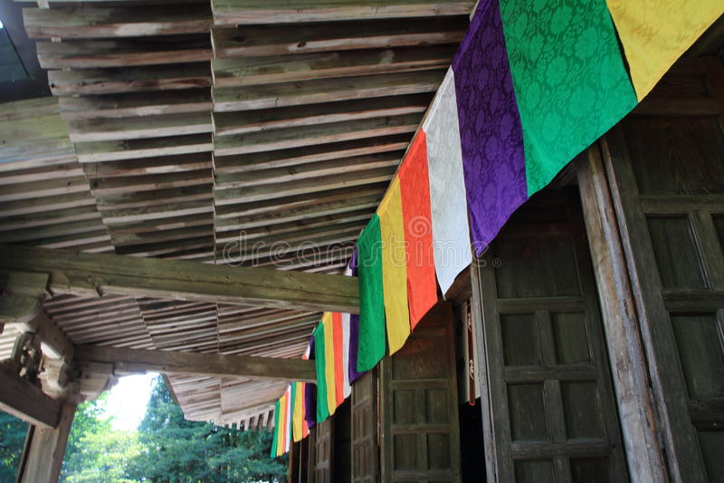 Pasillo principal del ji Yamadera de Risshaku en Yamagata imagen de archivo