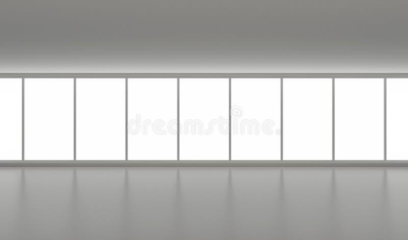 Pasillo vacío ancho, interior limpio, con las ventanas grandes stock de ilustración
