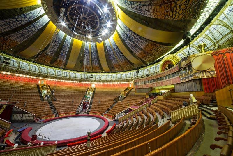 Pasillo vacío del gran circo del estado de Moscú imagenes de archivo