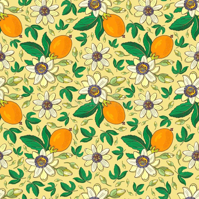 Pasionaria de la pasionaria, fruta de la pasión en un fondo amarillo Modelo incons?til floral con las flores ex?ticas brillantes  stock de ilustración