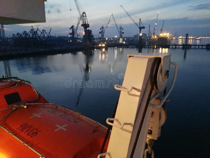 Pasir gudang Shipyard view sunrise. View from ship at pasir gudang Johor Malaysia in early morning stock photo