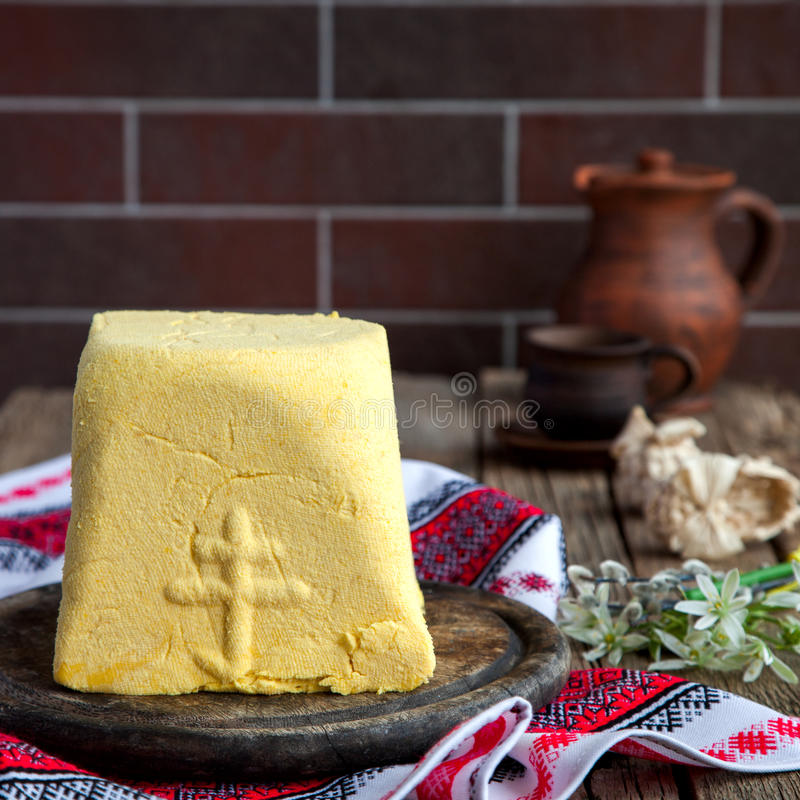 Paskha and kulich. Traditional Russian Orthodox Easter Quark Dessert Curd.Easter background.Vintage style.selective focus stock photography