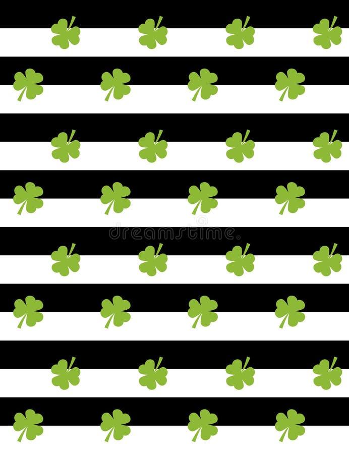 Paskuje bezszwowego wzór z zieloną koniczyną St Patrick dnia wektoru wzór ilustracji