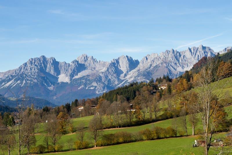 Pasmo górskie Dziki Kaiser w Tirol zdjęcia royalty free