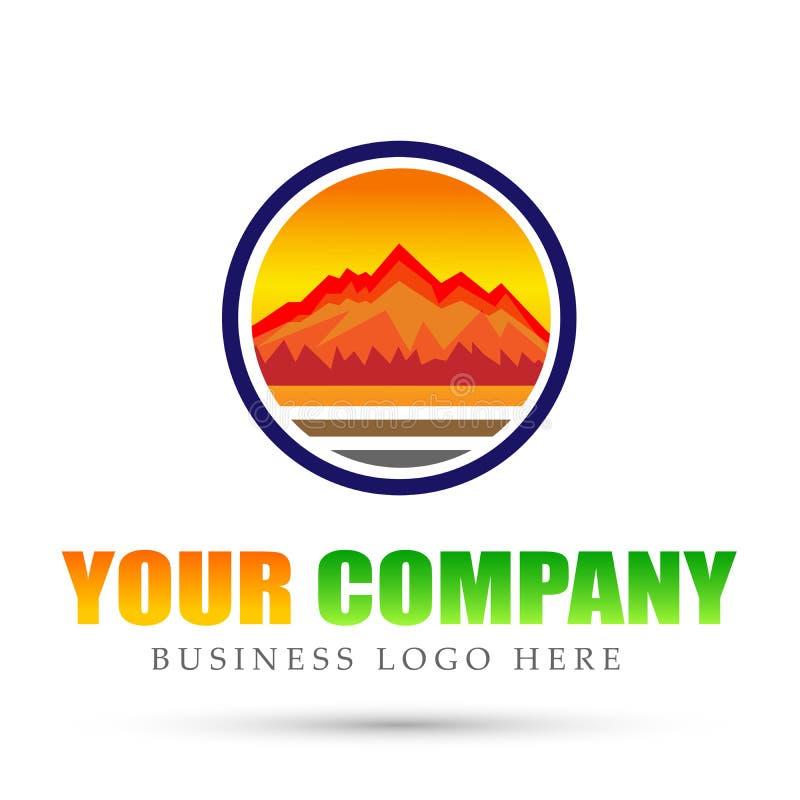 Pasmo Górskie góry loga okręgu ikon symbolu loga denny tropikalny ciepły projekt na białym tle ilustracji