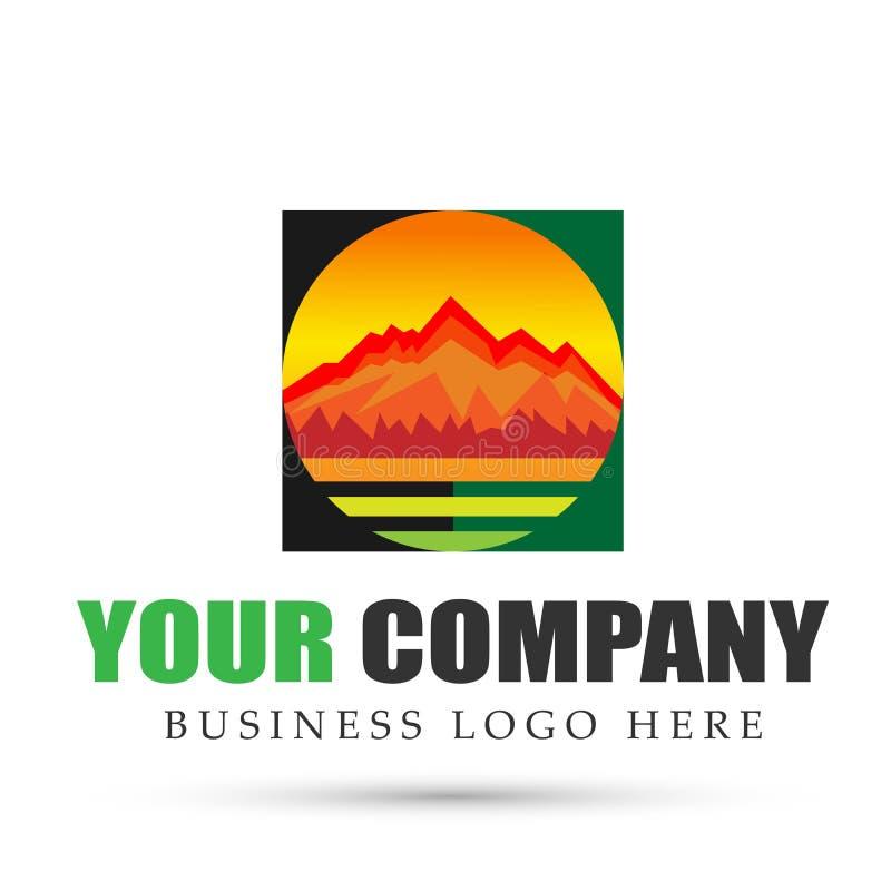 Pasmo Górskie góry loga okręgu ikon symbolu loga denny tropikalny ciepły projekt na białym tle royalty ilustracja