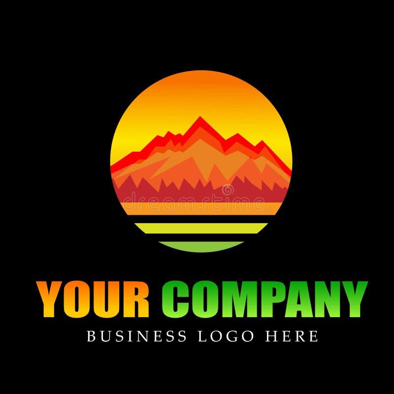 Pasmo Górskie góry logo okręgu ikon symbolu logo denny tropikalny ciepły projekt ilustracja wektor