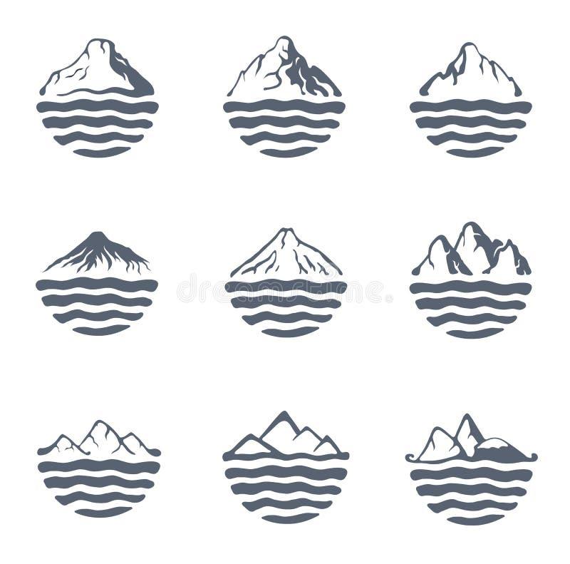 Pasmo górskie nad jeziorem, morzem lub oceanem, plenerowy loga set, wektorowa ilustracja ilustracja wektor