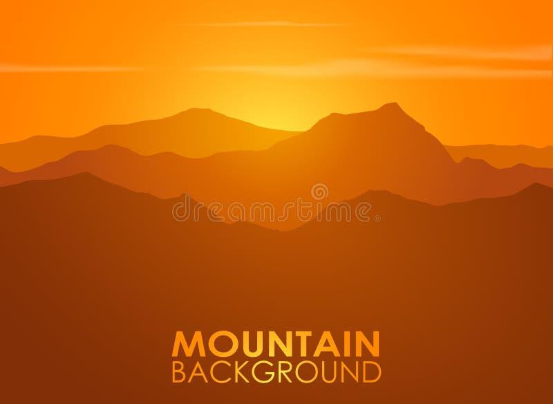 Pasmo górskie nad zmierzchem Wektorowy tło royalty ilustracja