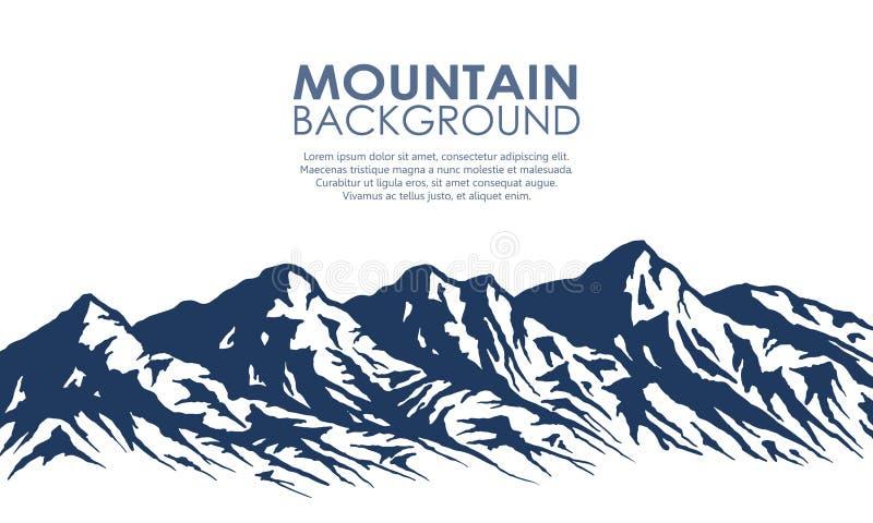 Pasmo górskie sylwetka odizolowywająca na bielu ilustracja wektor