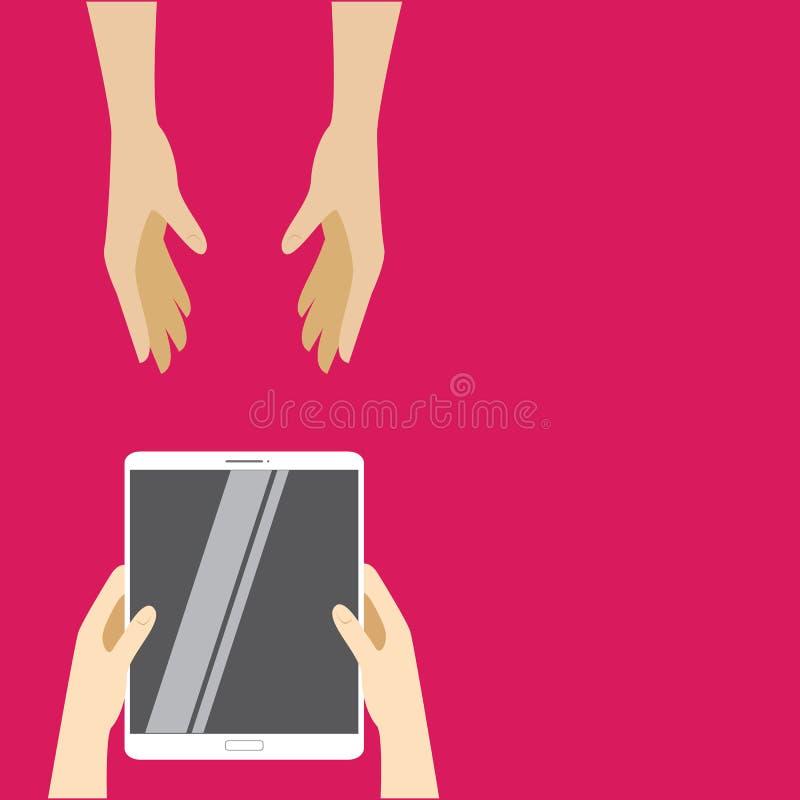 Paso blanco de la tableta de mano a mano en un fondo rosado Ejemplo del vector en diseño plano ilustración del vector