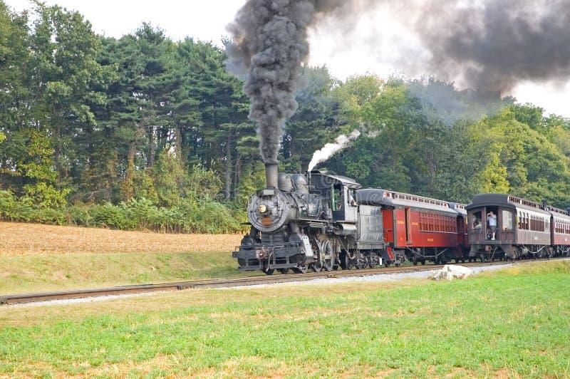 Paso de dos viejo trenes del vapor foto de archivo libre de regalías