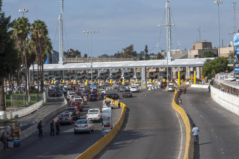Paso de frontera de Tijuana imagen de archivo