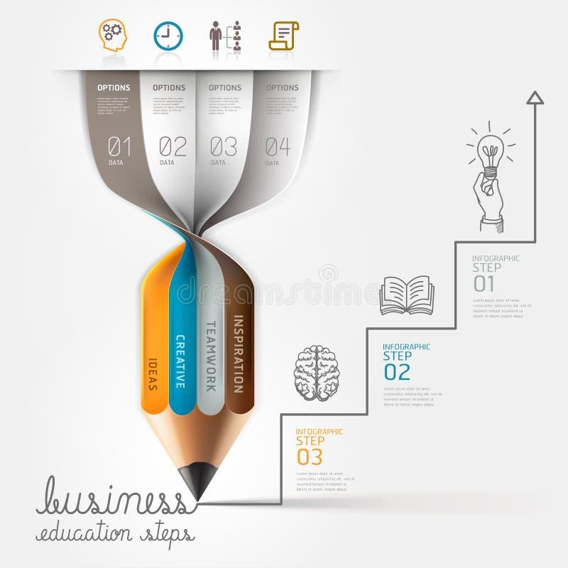 Paso de Infographics de la educación del negocio. ilustración del vector