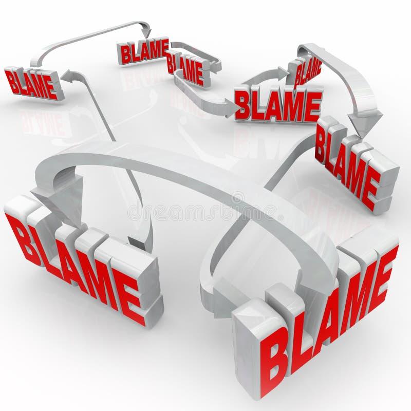 Paso de las palabras de la flecha de la culpa que acusan otras que niegan responsabilidad stock de ilustración