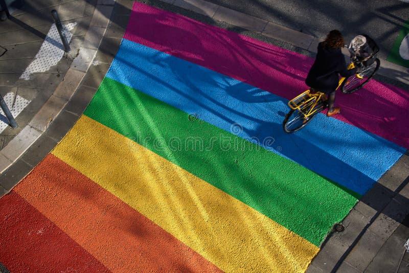 Paso de peatones del arco iris en Grenoble, Francia fotos de archivo libres de regalías