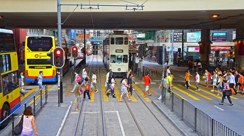 Paso de peatones en el camino del canl, Hong-Kong fotografía de archivo