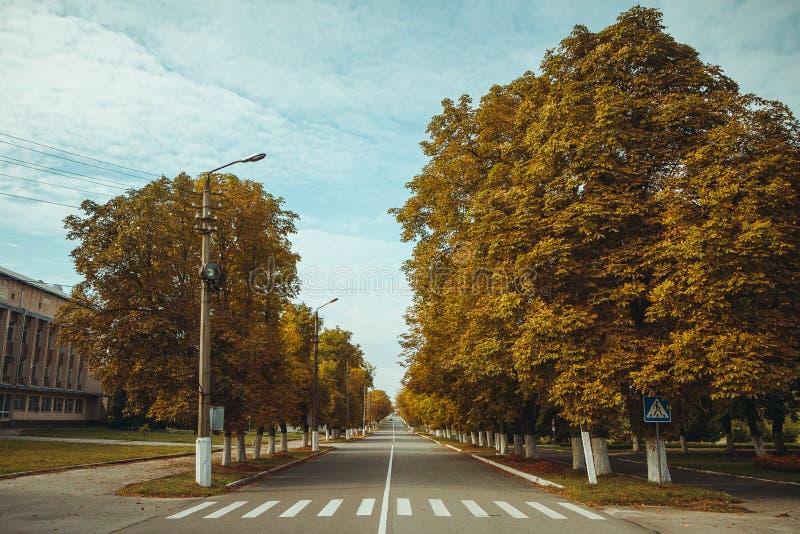 Paso de peatones en zona de exclusión de Chornobyl Zona radiactiva en la ciudad de Pripyat - pueblo fantasma abandonado Historia  imagenes de archivo