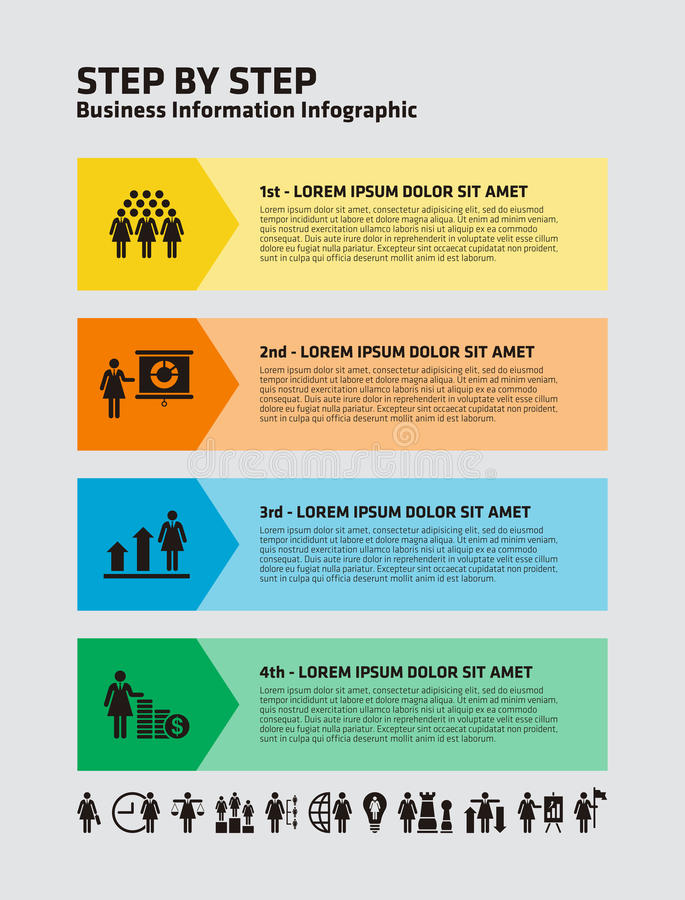 Download 4 Paso Infographic Con Los Iconos De La Empresaria Stock de ilustración - Ilustración de negocios, plan: 42437838